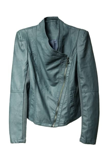 Shoulder Pads Lapel Celadon Leather Jacket