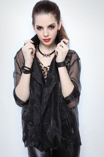 Lapel Neck Perspective Organza Black Coat