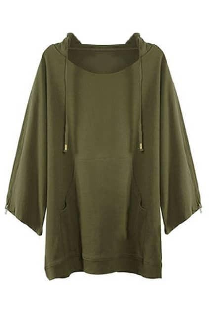 Hooded Bat Sleeve Olive Green Hoodie