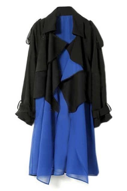 Chiffon Black And Blue Trench Coats