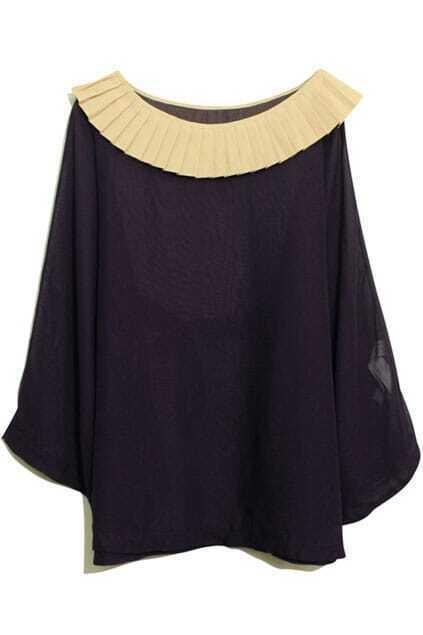 Pleated Collar Purple Cape