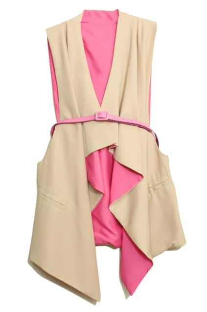 Anomalous Color Block Pink Coat