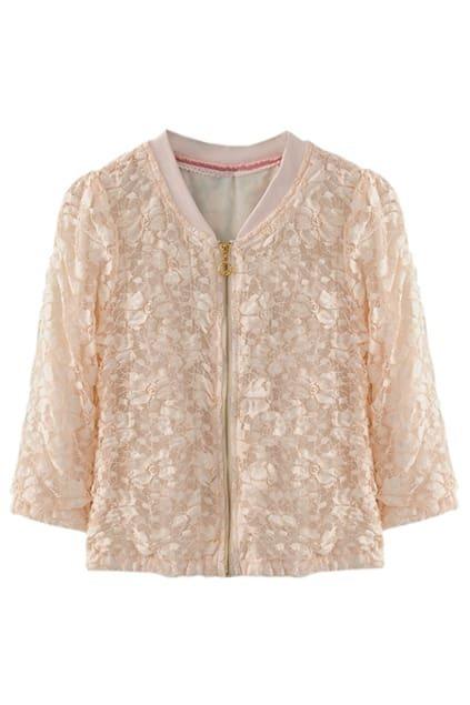 Lace Flower Light Pink Zip Coat