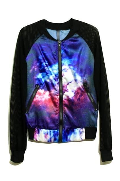 Star Chiffon Spliced Fluorescent Purple Coat