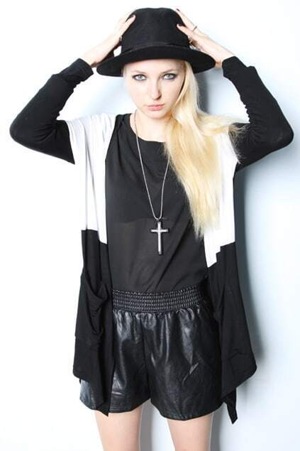 V-neck Batwings Black And White Coat
