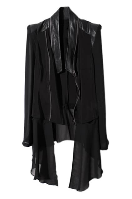 Chiffon Splicing Black Coat