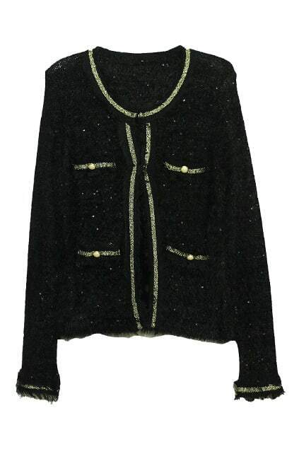Mohair Paillette Fringe Black Coat