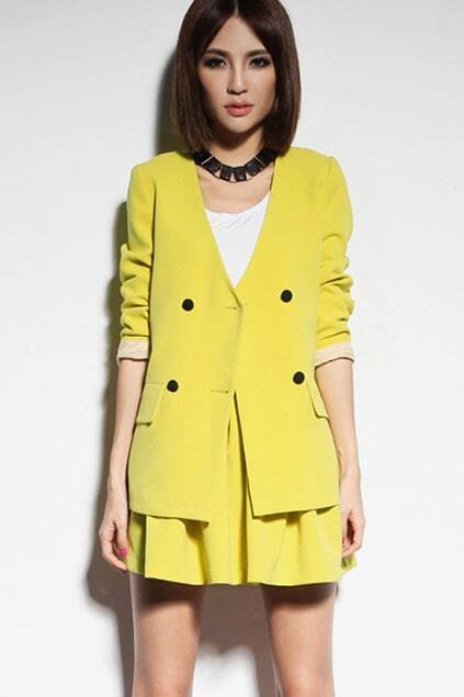Double-Breasted Collarless Lemon-Yellow Blazer