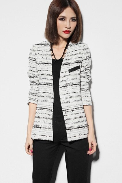 One Button Collarless Off-White Blazer