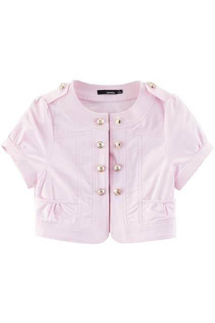 Fitted Epaulet Double-breasted Pink Coat