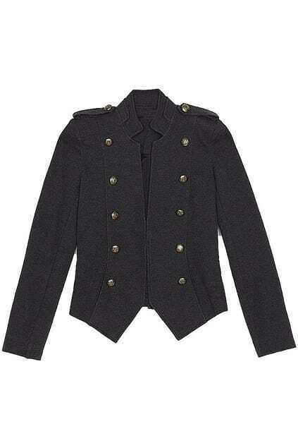 Double Stand-collar Fitted Epaulet Dark-grey Coat