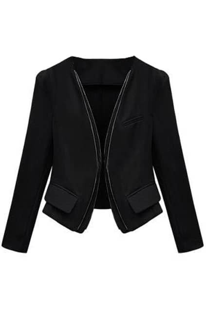 Slim Double-zip Design Black Coat