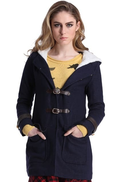 Single Breasted Navy Blue Hoody Coat