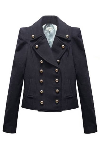 Fitted Shoulder-pads Double-breasted Navy-blue Coat