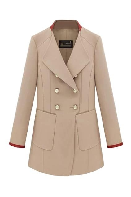 Contrast Colour Collar Double-breasted Cream Coat
