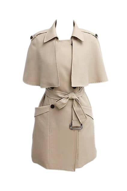 Slim Detachable Wraps Cream-coloured Trench Coat