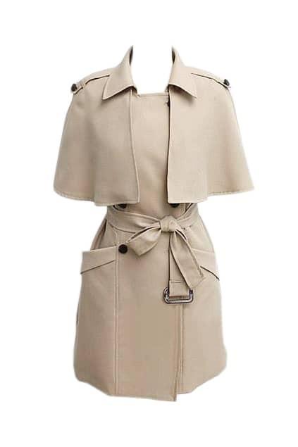 Slim Detachable Wraps Cream-coloured Trench Coat