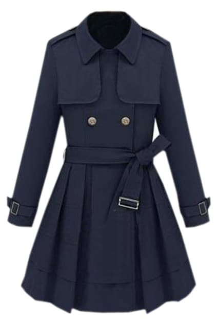Double-breasted Navy Trench Coat