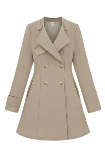 Zipped Slim Cream-colored Trench Coat