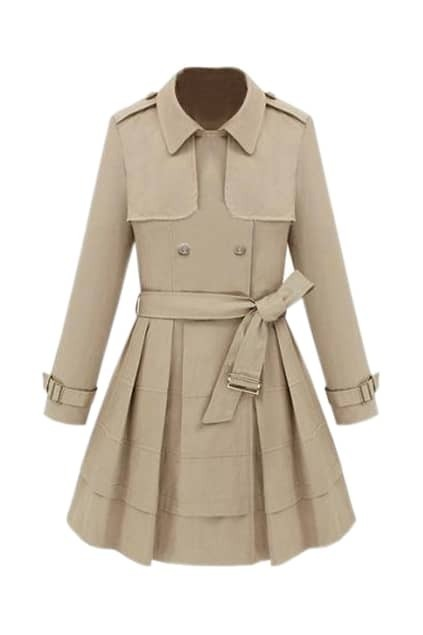 Double-breasted Slim Cream-colored Trench Coat