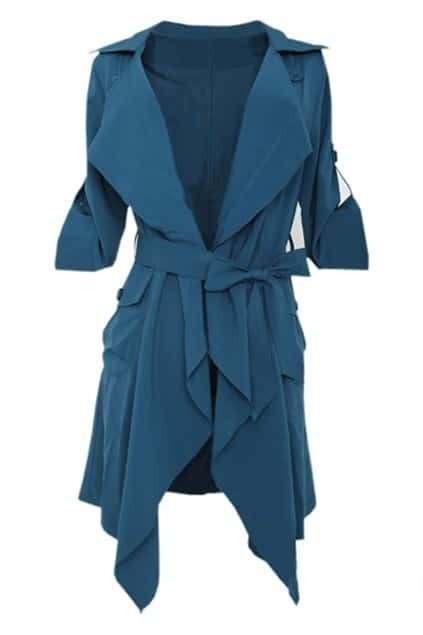 Slim Denim Blue Trench Coat