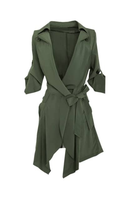 Slim Denim Army-green Trench Coat