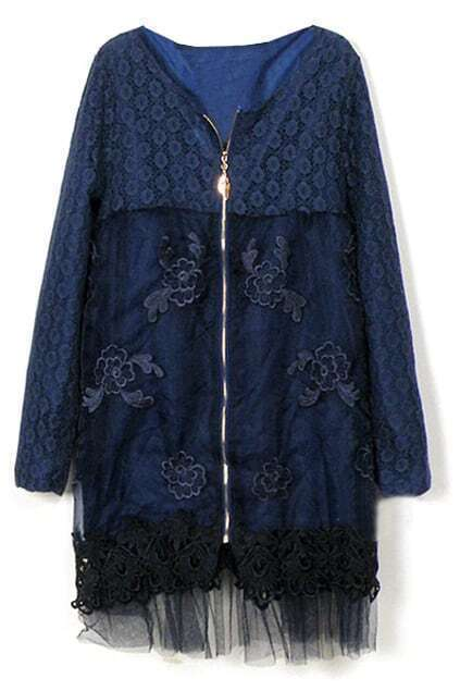 Double-layer Zipped Blue Trench Coat