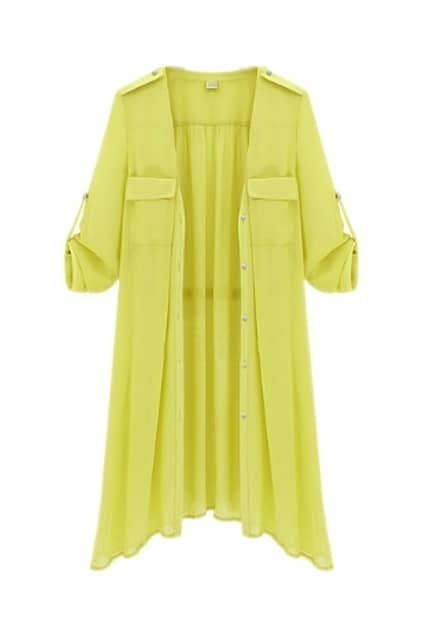 V-neckline Yellow Trench Coat