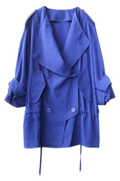 Batwing-sleeve Oversized Blue Trench Coat