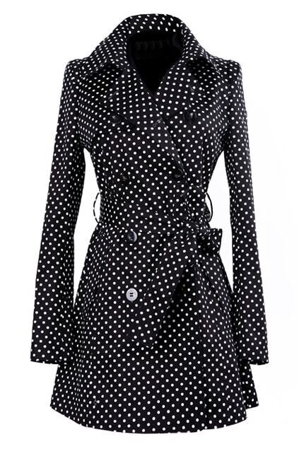 Dots Print Double-breasted Black Coat