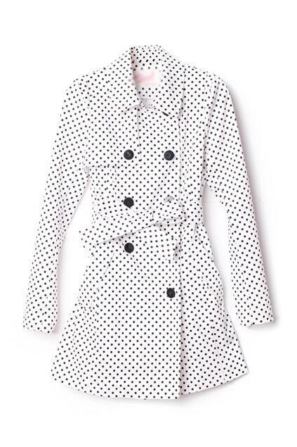 Dots Print Double-breasted White Coat