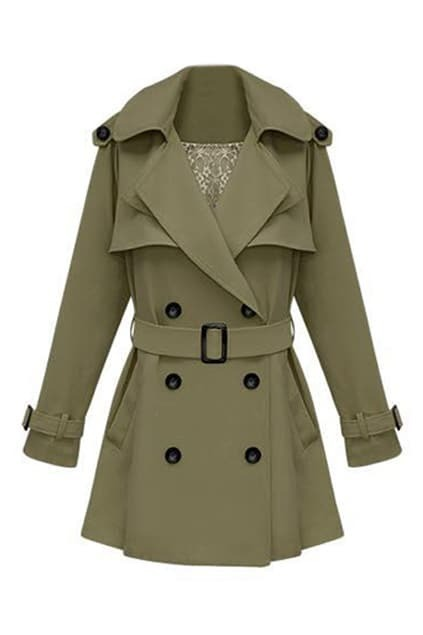 Slim Medium Style Army-green Trench Coat