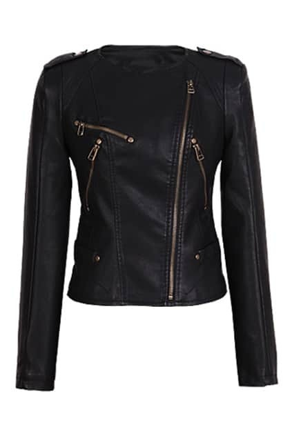 Leather-look Black Biker Jacket
