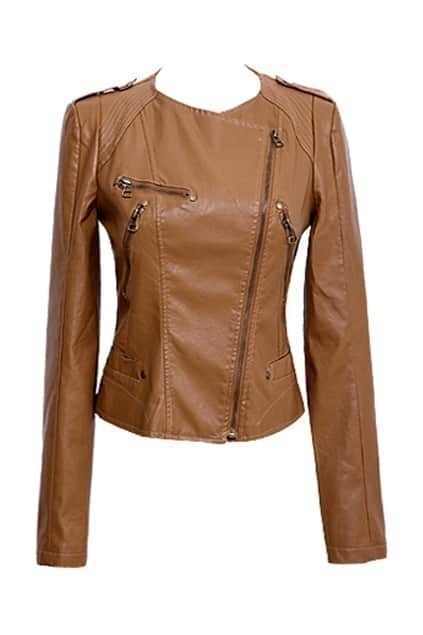 Leather-look Camel Biker Jacket