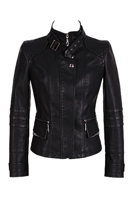 Band Collar Black Biker Jacket