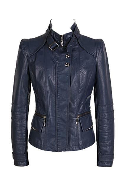 Band Collar Blue Biker Jacket
