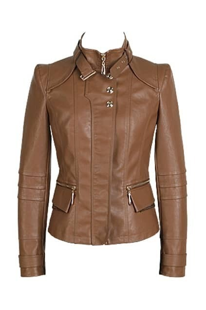 Band Collar Brown Biker Jacket