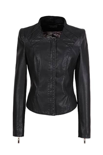 Pleating Detail Black Biker Jacket