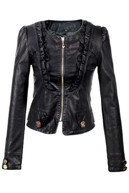 Lace Detailed Cropped Biker Jacket