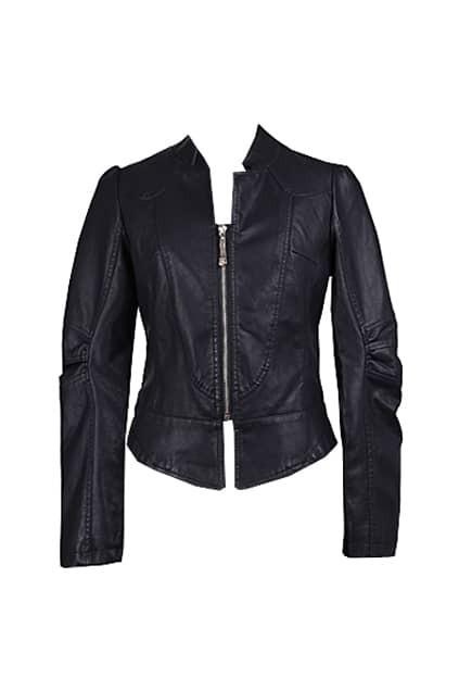 Cropped Slim Fit Black Biker Jacket