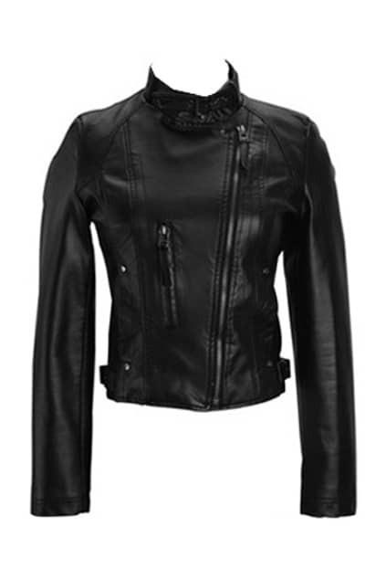 Leather Look Black Biker Jacket