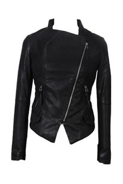 Asymmetric Zip Black Motorcycle Jacket