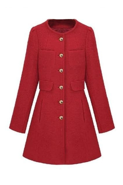 Single Breasted Long Red Coat