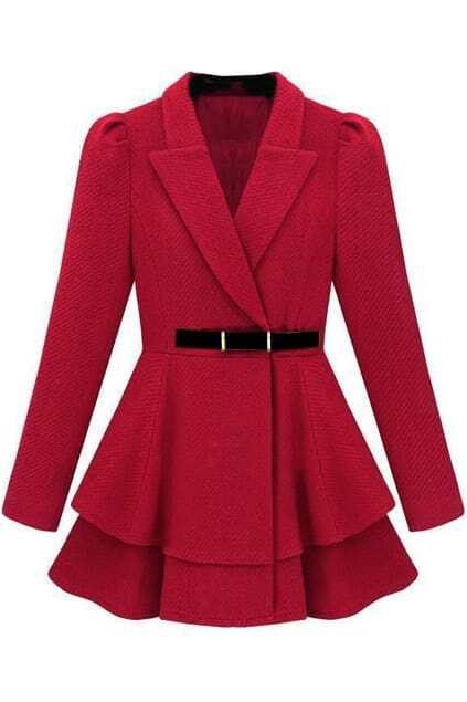 Layered Hem Red Coat