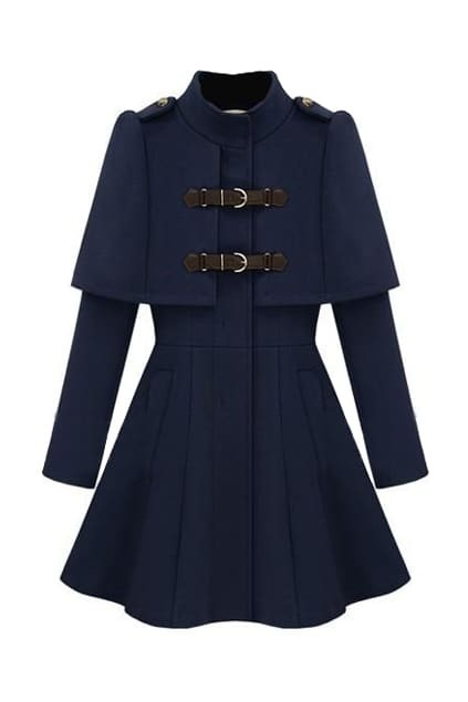 Caped Navy Blue Coat
