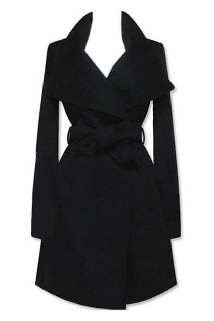 Wide Collar Belted Black Coat
