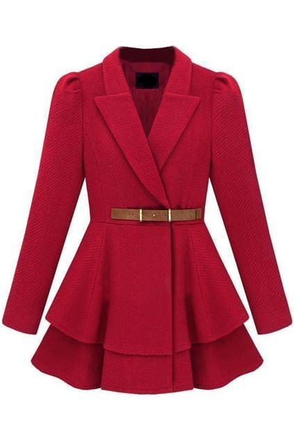 New Style  Pleat Hem  Red Coat