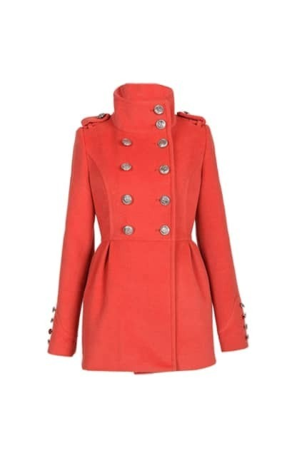 Band Collar Double Breasted Coat