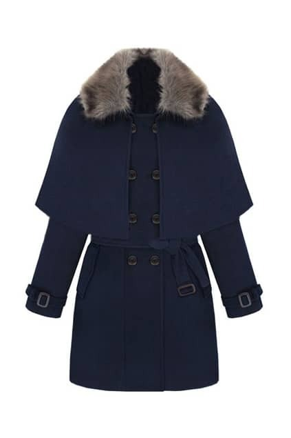 Double Breasted  Dark Blue Coat