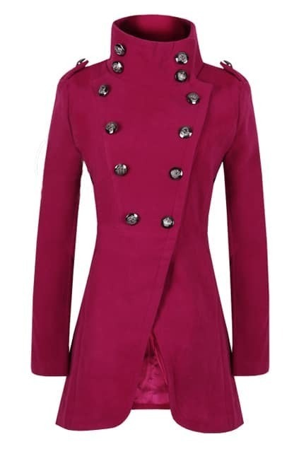 Double Breasted  Band Collar Red Coat